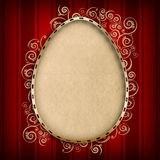 Happy Easter card template - shape of egg on red background Stock Photography