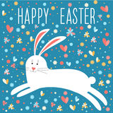Happy easter card template theme. Funny cartoon white rabbit. Stock Photo