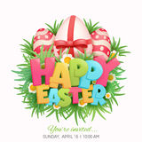 Happy Easter Card title with Eggs, Grass, Flowers Royalty Free Stock Photo