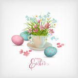 Happy Easter Card. Vector cup full of spring flowers and eggs Royalty Free Stock Images