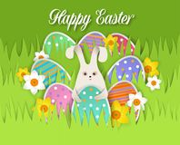 Happy Easter card, vector paper cut illustration. Happy Easter card with easter eggs and easter rabbit. Vector illustration in paper art style Royalty Free Stock Photo