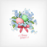Happy Easter Card. Vector spring flowers and eggs Stock Photography