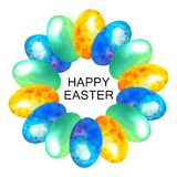 Happy Easter. Card watercolor easter wreath of blue, yellow and green eggs in spots. In the middle text. vector illustration