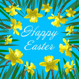 Happy Easter card with yellow narcissus can be used as invitation card for wedding Stock Photos