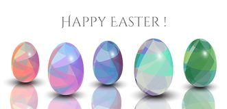 Happy Easter Cards - Abstract Triangle Pattern. 3D Easter Eggs On The White Background. Royalty Free Stock Photos