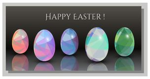 Happy Easter Cards - Abstract triangle pattern. 3D Easter eggs. vector illustration