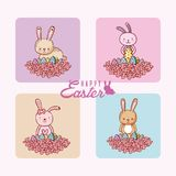 Happy easter cards collection with cute animals Royalty Free Stock Photography