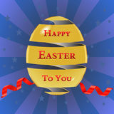 Happy easter cards with easter eggs, golden egg with ribbon, stars background - vector eps10 Royalty Free Stock Photography
