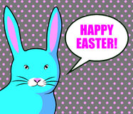 Happy easter cards illustration with colorful bright blue rabbit Stock Image