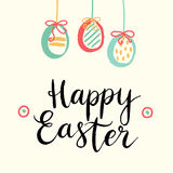 Happy easter cards illustration with easter eggs and font. Stock Photography