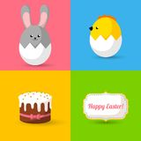 Happy Easter cards illustration with eggs, bunny, Stock Photography