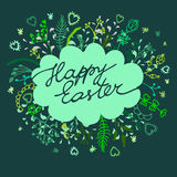 Happy easter cards illustration with floral background Royalty Free Stock Image