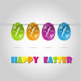 Happy easter cards illustration retro vintage with Stock Photo