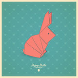 Happy easter cards  with origami  bunny Royalty Free Stock Image