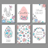 Happy Easter cards set with colorful floral doodle background and decorative eggs. Vector illustration royalty free illustration