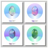 Happy Easter Cards Set - 3d Easter eggs with the abstract triangle pattern. Happy Easter Cards Set - Abstract trinagle pattern. 3d eggs vector illustration