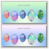 Happy Easter Cards Set - 3d Easter eggs with the abstract triangle pattern. Happy Easter Cards Set - Abstract trinagle pattern. 3d eggs Stock Photography