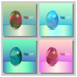 Happy Easter Cards Set - 3d Easter eggs with the abstract triangle pattern. Happy Easter Cards Set - Abstract trinagle pattern. 3d eggs stock illustration