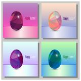Happy Easter Cards Set - 3d Easter eggs with the abstract triangle pattern. Happy Easter Cards Set - Abstract trinagle pattern. 3d eggs Stock Photo