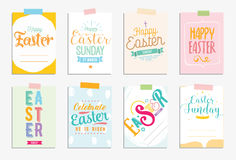 Happy Easter cards set. Vector typography with drawn elements. Stock Photo