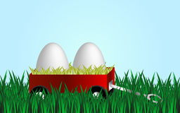 Happy easter. Cartoon background with nature and vehicle with two white eggs Royalty Free Stock Image