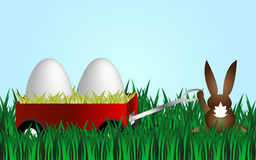 Happy easter. Cartoon background with nature and vehicle with two white eggs and easter bunny Royalty Free Stock Image