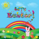 Happy Easter cartoon colorful illustration of cute rabbit on sun. Happy Easter vector cartoon colorful paper illustration of cute rabbit on beautiful landscape Royalty Free Stock Photography