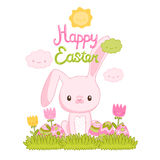 Happy Easter cartoon cute bunny and eggs Royalty Free Stock Photos