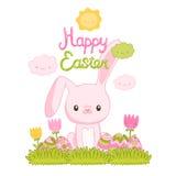 Happy Easter cartoon cute bunny and eggs Royalty Free Stock Photos