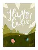 Happy easter cartoon field.  illustration Royalty Free Stock Photography