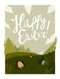 Happy easter cartoon field.  illustration. Happy easter cartoon field. nice colors card.  illustration Royalty Free Stock Photography
