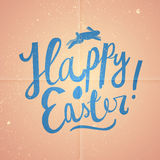 Happy Easter cartoon text. Pink vintage Easter card. Stock Image