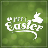 Happy Easter celebration beautiful greeting card. Beautiful greeting card design with rabbit and eggs on shiny green background for Happy Easter celebration Stock Photo