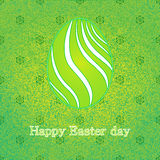 Happy Easter celebration card with green design decorated easter egg. Floral decorative background.Vector illustration Stock Photos
