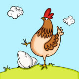Happy Easter celebration with cock and egg. Happy Easter celebtration with illustration of cock trying to break eggs on nature background Royalty Free Stock Photos