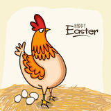Happy Easter celebration with cock and eggs. Happy Easter celebration greeting card with cock and eggs Stock Photos