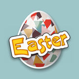 Happy Easter celebration with colorful egg. Colorful creative egg for Happy Easter celebration, can be used as sticker, tag or label design Royalty Free Stock Photo
