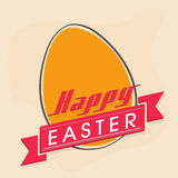 Happy Easter celebration concept. Happy Easter celebration with egg and pink ribbon Stock Photo