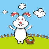 Happy Easter celebration with cute bunny. Royalty Free Stock Image