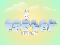 Happy Easter celebration with cute bunny. 3D glossy text Easter with cute bunny on shiny cloudy background Stock Photography