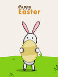 Happy Easter celebration with cute bunny and egg. Stock Images