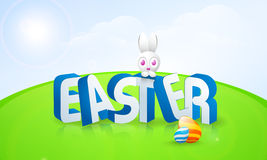 Happy Easter celebration with cute bunny and eggs. 3D text Easter with cute bunny and colorful creative eggs on glossy nature background Royalty Free Stock Photography