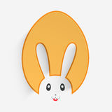 Happy Easter celebration with cute bunny. Happy Easter celebration with glossy paper cutout in bunny face shape on white background stock illustration