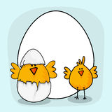 Happy Easter celebration with cute chicks. Happy Easter celebration with cute chicks, cracked egg and blank frame for your wishes Stock Photo