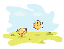 Happy Easter celebration with cute chicks. Happy Easter celebration with illustration of cute chicks, one of them jump on nature background Royalty Free Stock Images