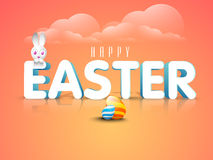 Happy Easter celebration with 3D text. 3D text Easter with cute bunny and colorful eggs on glossy cloudy background Royalty Free Stock Image