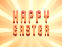 Happy Easter celebration with 3D text. 3D text Happy Easter on glossy rays background, can be used as poster, banner or flyer Royalty Free Stock Images