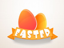 Happy Easter celebration with eggs. Happy Easter celebration with colorful glossy eggs and orange ribbon on abstract bakground vector illustration