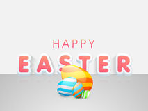 Happy Easter celebration flyer, banner or poster. Happy Easter celebration poster, banner or flyer with glossy colorful painted eggs on grey background Royalty Free Stock Images