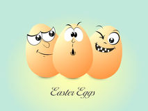 Happy Easter celebration with funny eggs. Happy Easter celebration with funny eggs on shiny sky blue background Royalty Free Stock Images